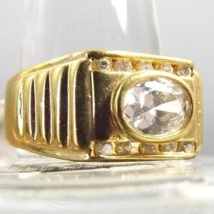 Vintage Bling in Gold Tone Statement Ring, Size 10